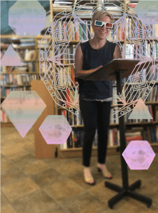 Artist rendition of Issue 7 contributor Laura Brun reading at EEBX c/o Gordon Buchan