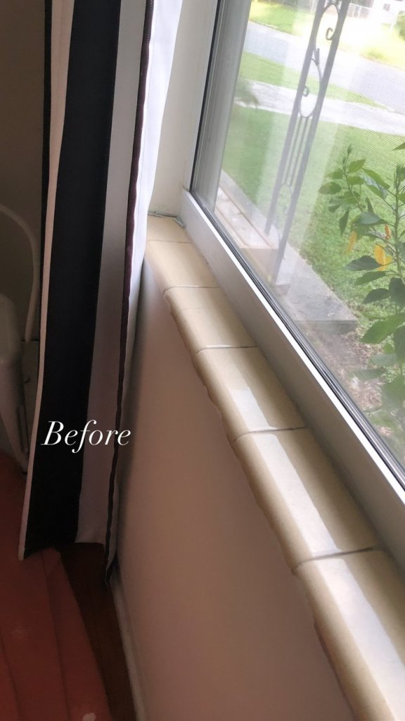 DIY tile windowsill replacement - before