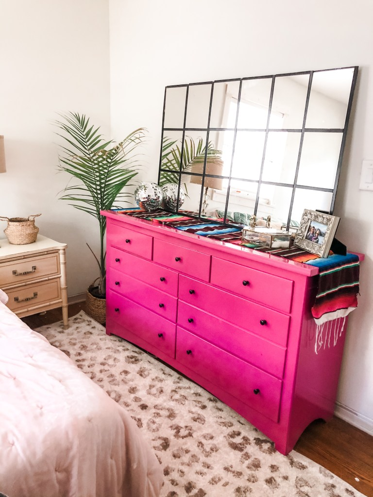 exuberant pink dresser and DIY window mirror dupe - ORC reveal