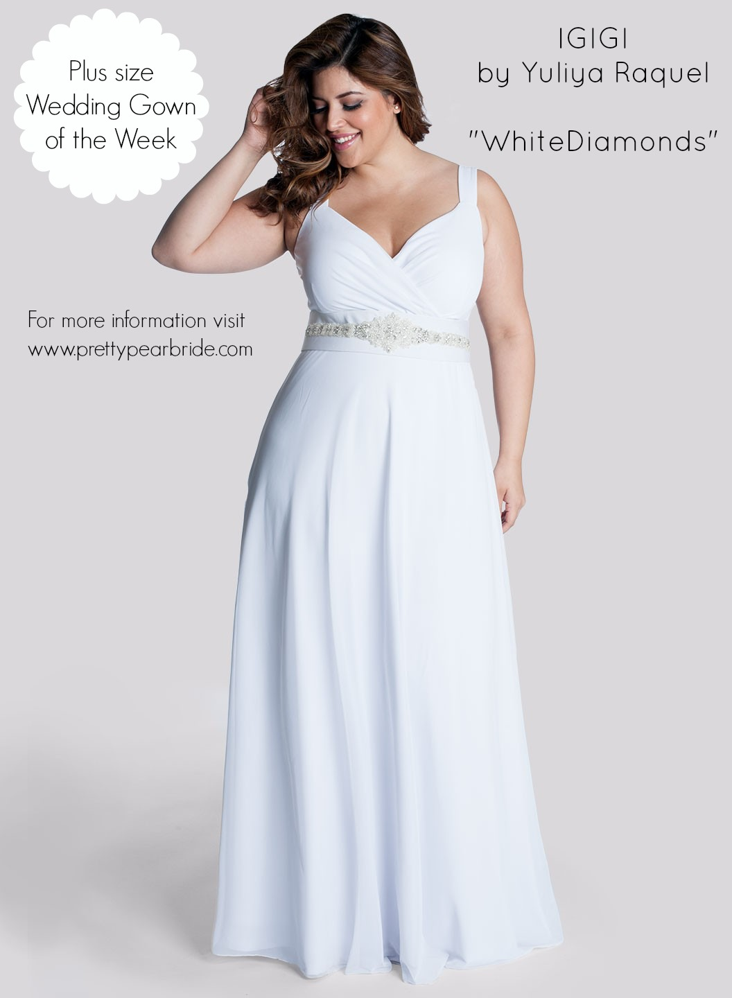 Plus Size Wedding Dress of the Week IGIGI  White Diamonds  The Pretty Pear Bride  Plus Size