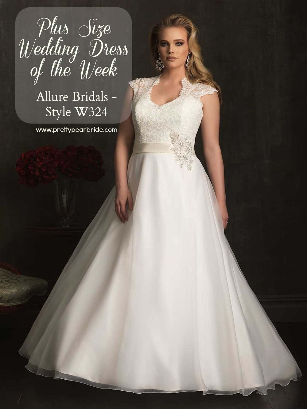 Plus Size Wedding Dress of the Week Allure Bridal  Style W324  The Pretty Pear Bride  Plus