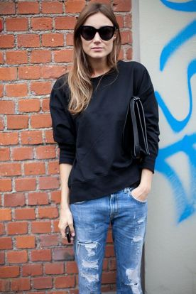 sweatshirt and distressed denim