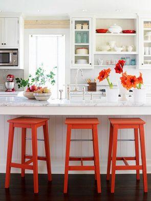 Orange Painted Barstool