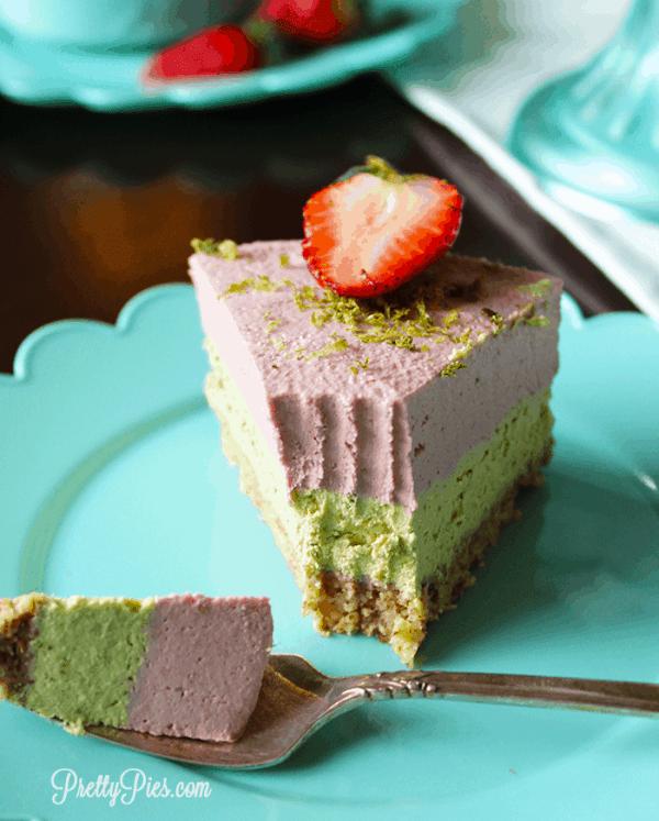 Strawberry Lime Cheesecake (Low-Carb, Vegan, Paleo) PrettyPies.com