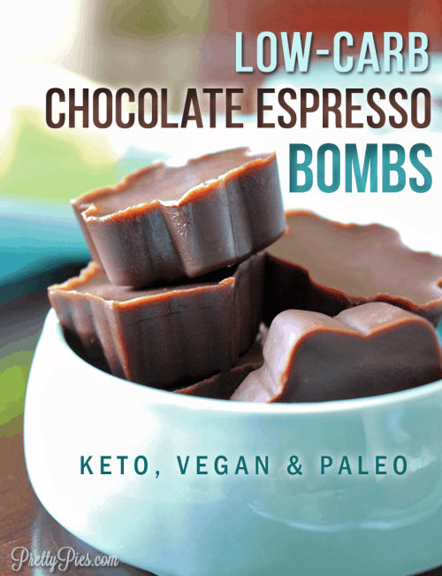 Healthy chocolate?? YES. Tastes like a candy bar, but it's actually packed full of good-for-you ingredients like almond butter, cacao and coconut oil (and no sugar!) These mocha fat bombs give you boost of energy & keep you satiated to eliminate cravings and all day grazing. With zero net carbs! | #keto #fatbombs #lowcarbrecipes from PrettyPies.com