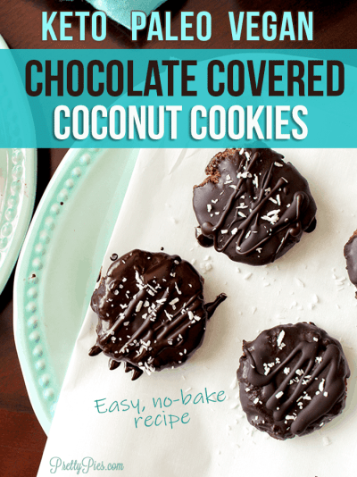 KETO Chocolate Covered Coconut Cookies! 2 g net carbs. So rich and satisfying. No bake, no dairy, no sugar. Clean-eating, low-carb, healthy chocolate fix recipe from PrettyPies.com #keto #nobakecookies #chocolate #healthyrecipe