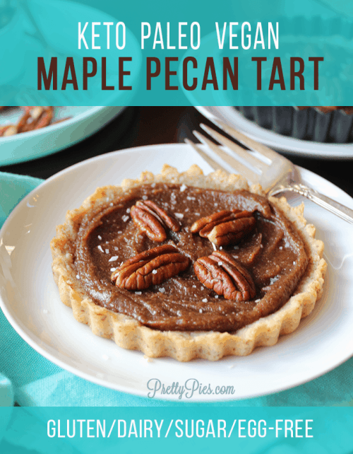 Maple Pecan Tarts are the perfect crowd-pleasing holiday dessert for people on special diets. With a buttery crust and smooth pecan filling, your family won't know there's no grains/gluten, dairy, eggs, or sugar! (Vegan, Paleo, Low-Carb, Keto)