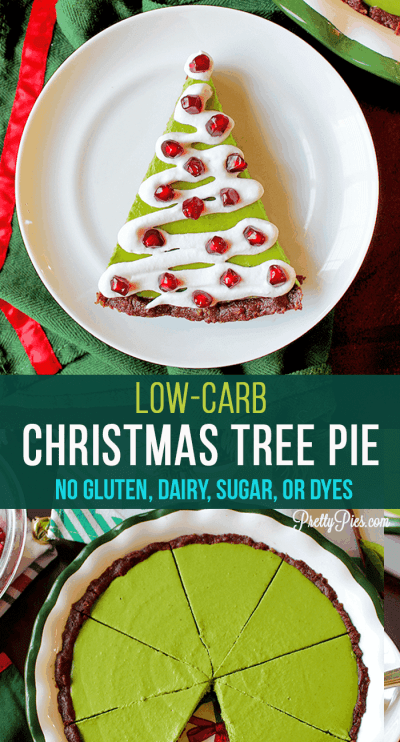 Surviving the holidays on a special diet just got a whole lot easier! This festive vanilla cream Christmas Tree Pie is free from gluten, dairy, eggs, soy, artificial coloring and sugar! You'd never know it's low carb, paleo and vegan. #prettypies #christmasdesserts #lowcarb #sugarfree #dairyfree #dyefree