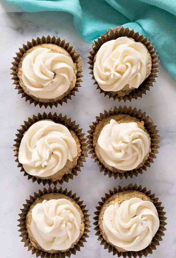 dairy free keto vanilla cupcakes with frosting