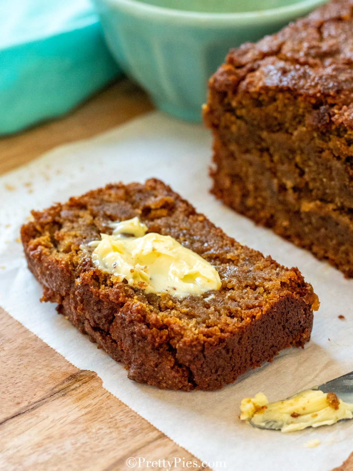 low carb Pumpkin Bread loaf slice with butter