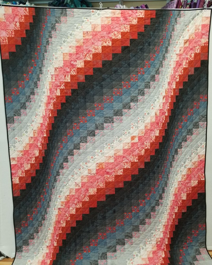 coral and gray bargello quilt red and black