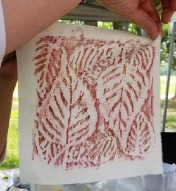 leaf rubbing on fabric