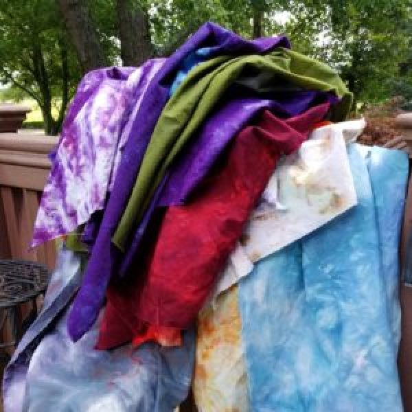 pile of dyed fabric