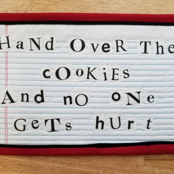 ransom mug rug cookies