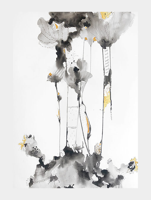 birds and flora in abstract form
