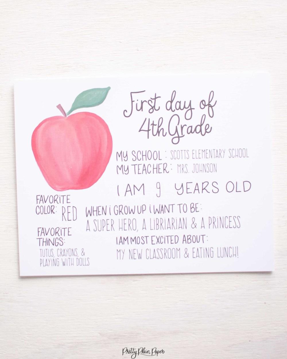 medium resolution of Apple First Day of School Sign