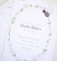 Bee Party - Invitation - Pretty Plain Paper [ 3115 x 2492 Pixel ]