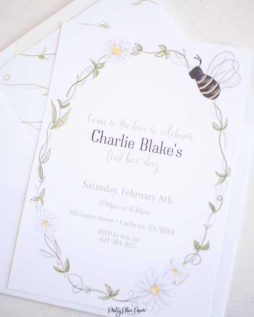 small resolution of Bee Party - Invitation - Pretty Plain Paper