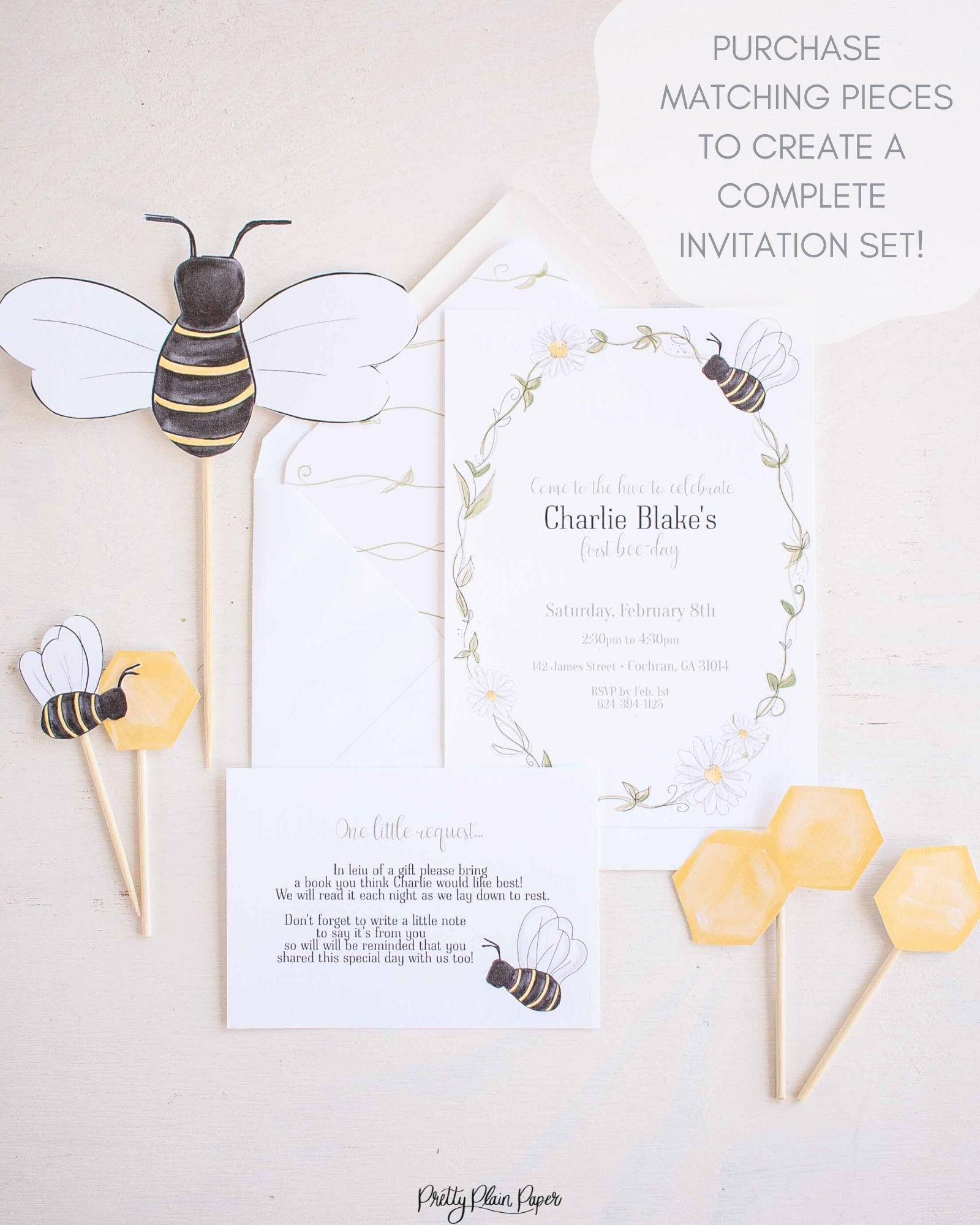 Bee Party - Invitation - Pretty Plain Paper [ 2000 x 1600 Pixel ]