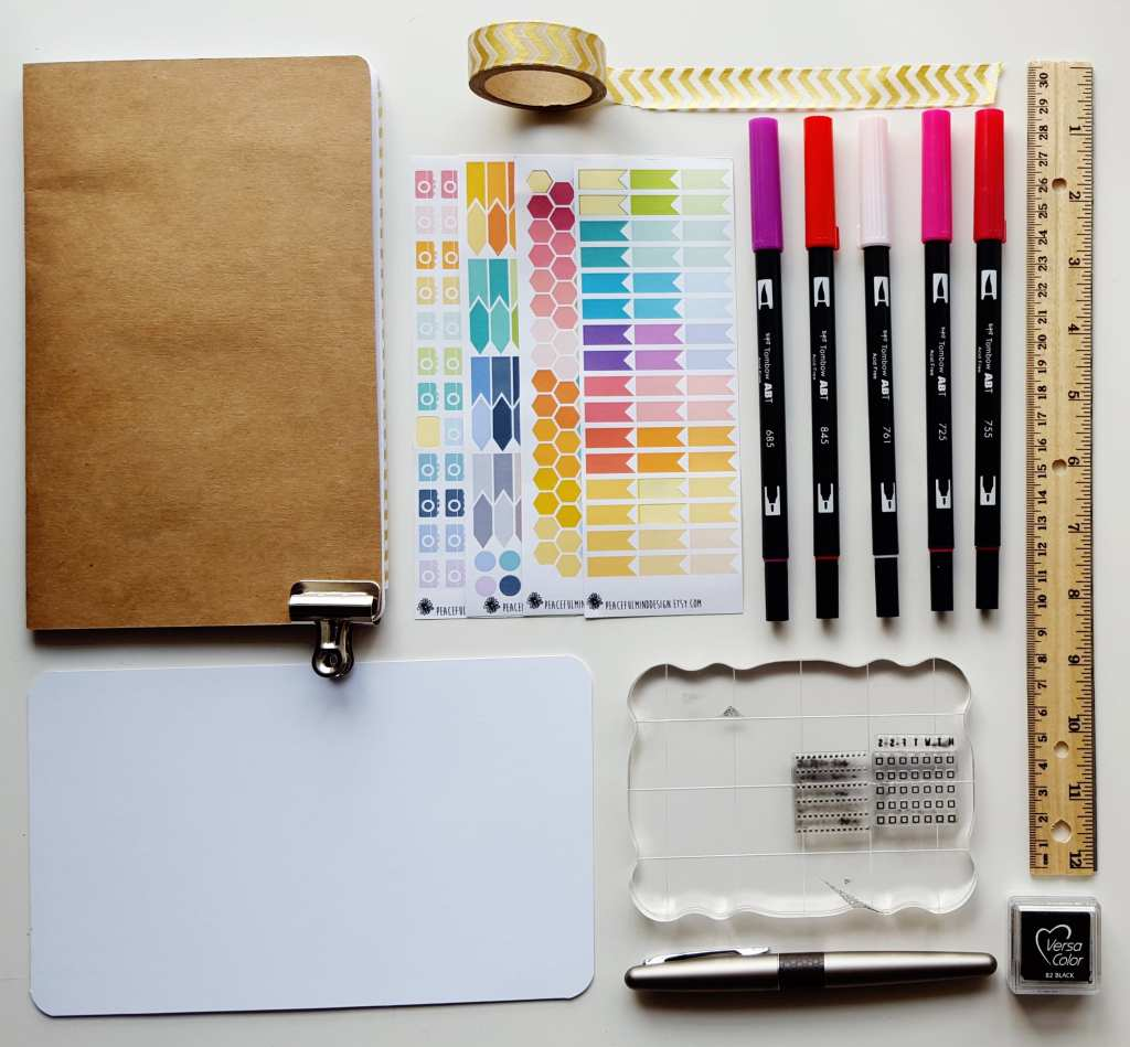 My gear for my February Bullet Journal set up // www.prettyprintsandpaper.com