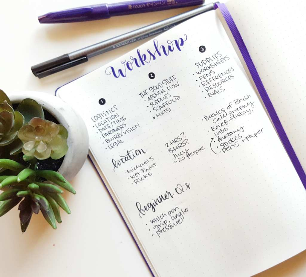 Using my bullet journal to outline potential brush calligraphy workshop possibilities // www.prettyprintsandpaper.com