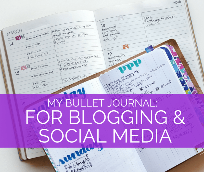 Social media and blog planning is intense - see how I use my bullet journal and planner to get a handle on it // www.prettyprintsandpaper.com