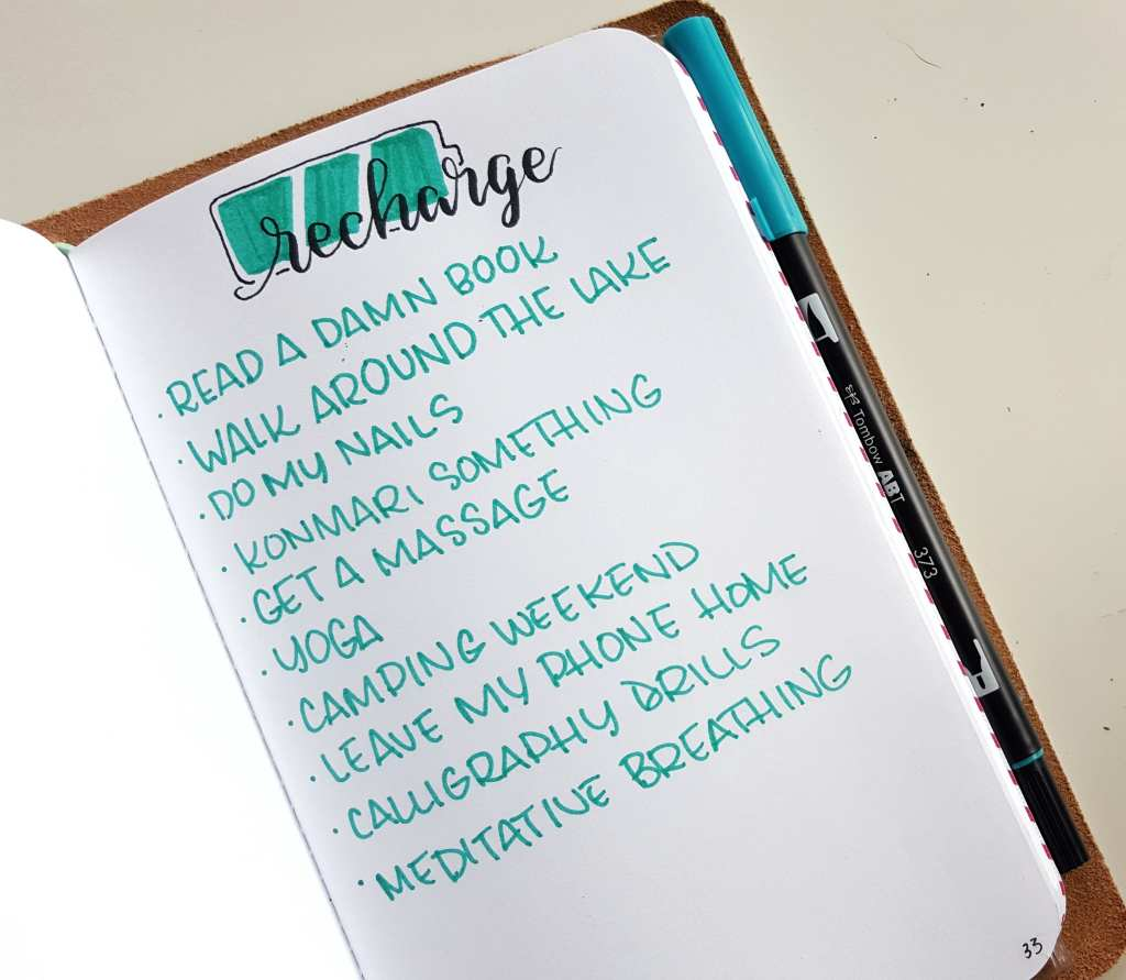 Keeping a self-care collection in your bullet journal can help keep your own well-being at the top of mind // www.prettyprintsandpaper.com