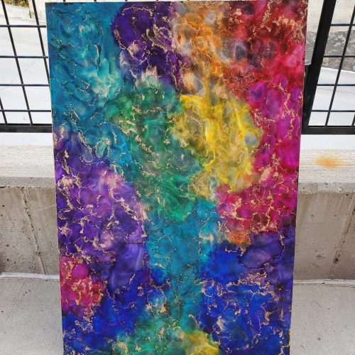 rainbow alcohol ink painting