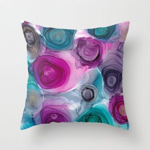 alcohol ink rose pillows