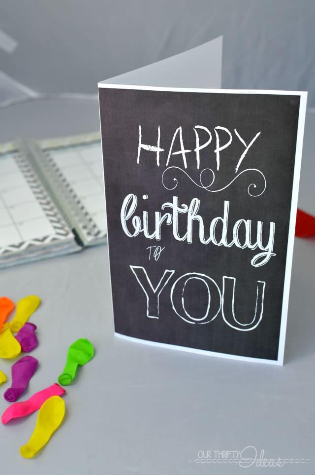 chalkboard style Happy Birthday free printable card