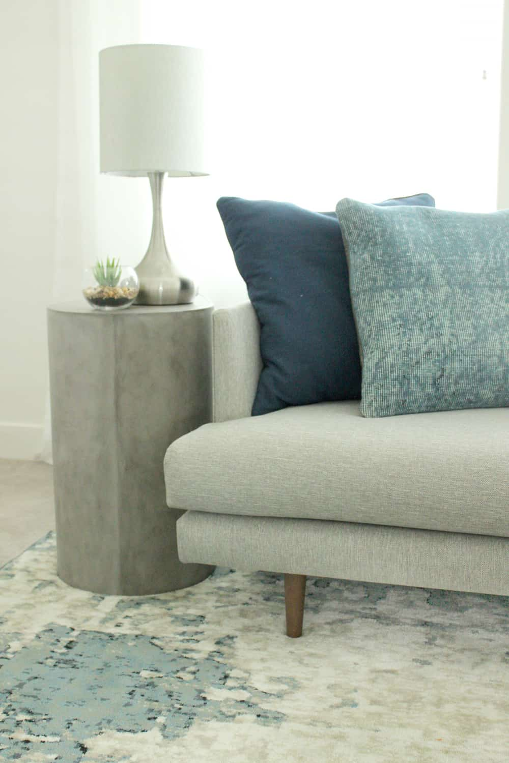 gray chair side table desk rolling cozy modern living room