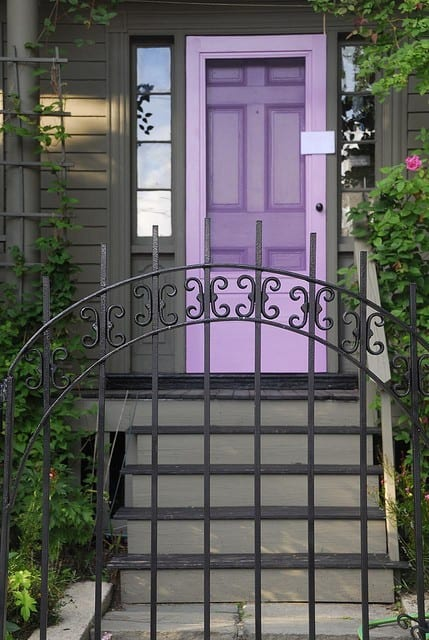 lavender purple front door with gate