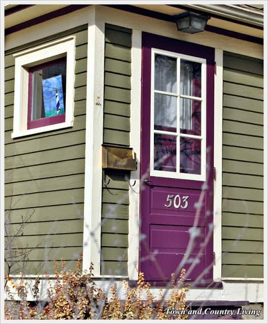 purple front door green siding
