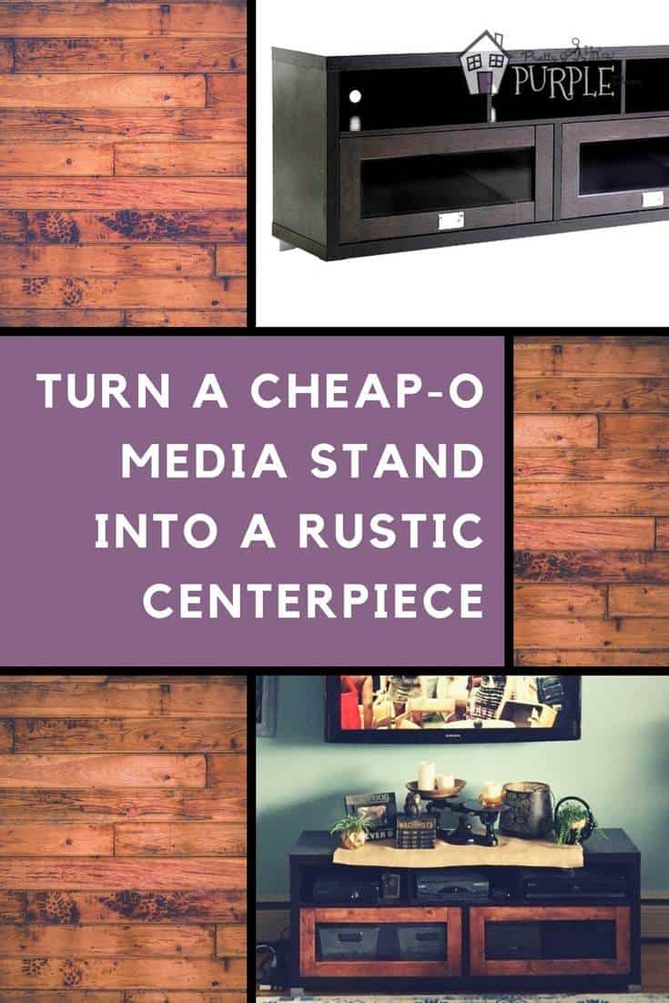 Turn a cheap-o media stand into a rustic centerpiece