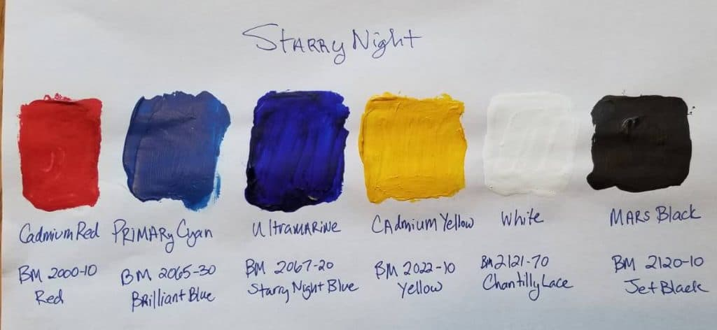 Color Swatches for Van Gogh's Starry Night Mural Painting