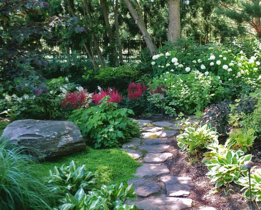 Who wouldn't take the stepping stone path through this shady woodland garden filled with stepping stones, hosta, hydrangea and astilbe?