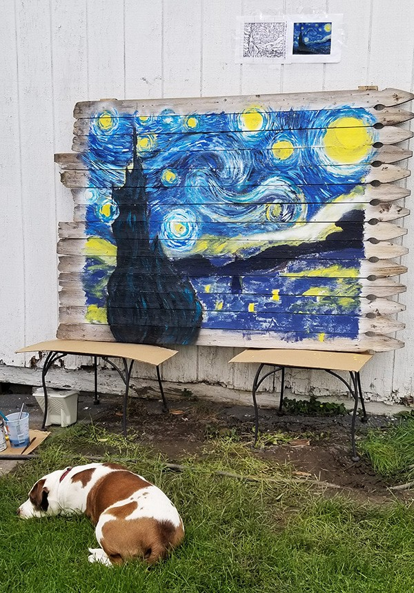 Van Gogh Mural with Reference Line Drawing, Grid, and Reference Painting being guarded by Sally