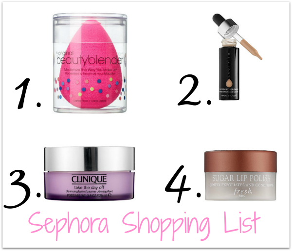 Sephora shopping list