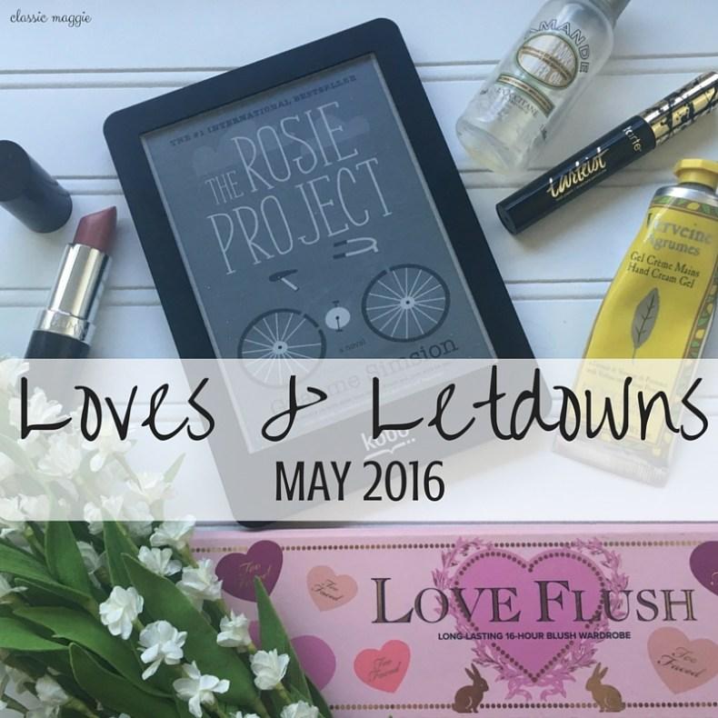 Too Faced Love Flush Blush Wardrobe; The Rosie Project; Rimmel Lasting Finish Lipstick Airy Fairy; Tarte Tartetist Lash Paint; L'Occitane Almond Shower Oil; L'Occitane Hand Cream Gel