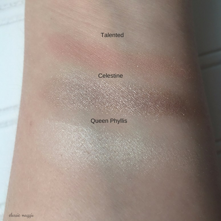 Swatches of bareMinerals The Dream Come True Palette