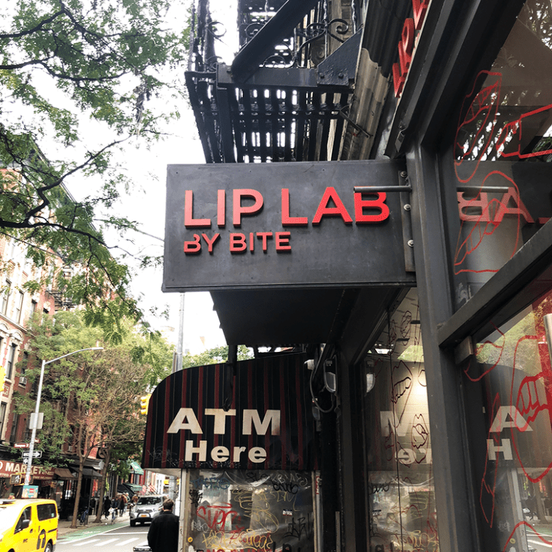 Lip Lab by Bite Sign outside on Prince Street in Soho, New York