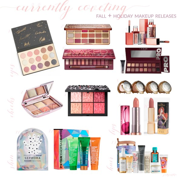 a collage of various holiday beauty releases include eyeshadow and cheek palettes, skincare and haircare