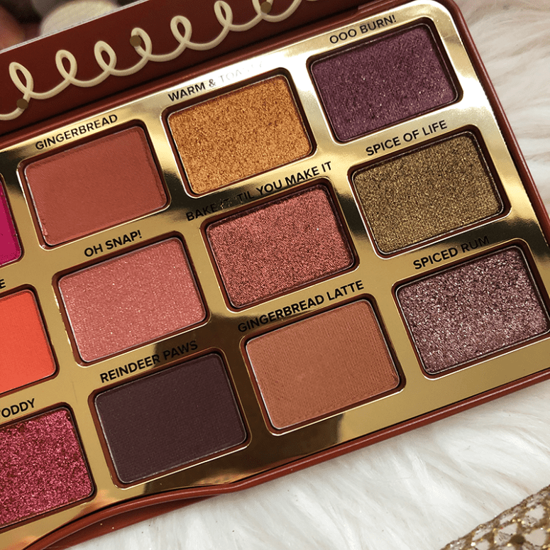 Close up of the 9 pans on the left hand side of Too Faced's Pumpkin Spice Eyeshadow palette