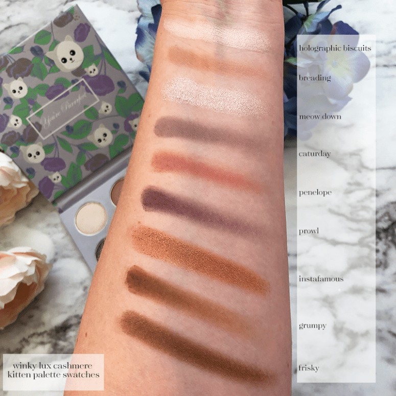 arm swatches of the Winky Lux Cashmere Kitten Palette