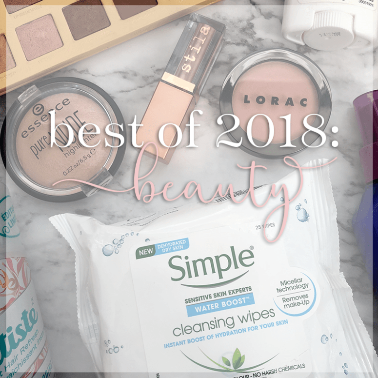 "a picture of various beauty products with a white overlay and the words ""Best of 2018: Beauty) overtop of it"