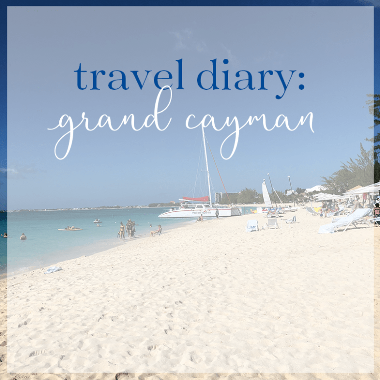 "a picture of Seven Mile Beach in Grand Cayman Island with the words ""travel diary: grand cayman"" at the top"