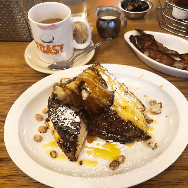 A picture of the coconut cream stuffed french toast from Toast in New Orleans