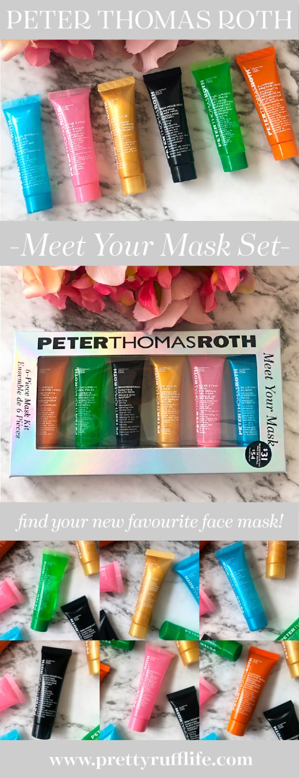 photos of the Peter Thomas Roth Meet Your Mask Kit placed on a marble background with florals