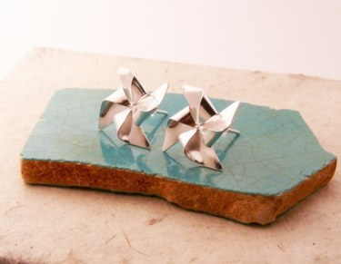 Silver Pinwheel Earrings - Uncovet - $59,99
