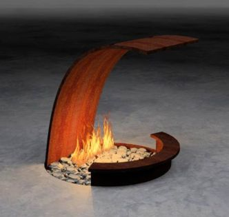 Contemporary Wooden Fireplace
